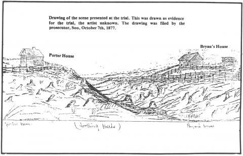 Crime scene drawing showing Porter and Bryan homes